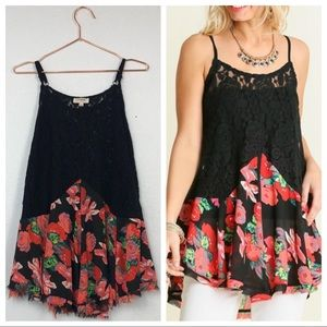 Umgee Sheer Lace&Floral Drop Waist Camisole Tunic